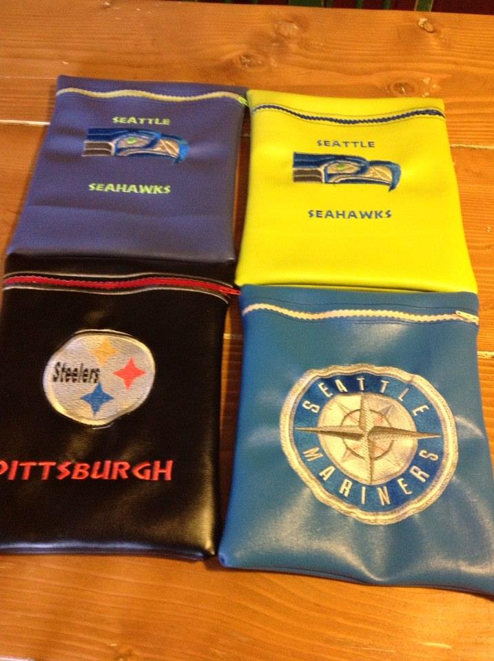 American football logos embroidered on bags