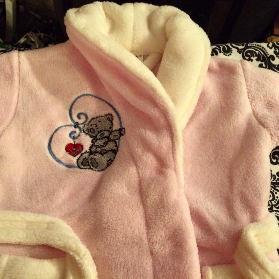 Tatty Teddy My love design embroidered on bathrobe