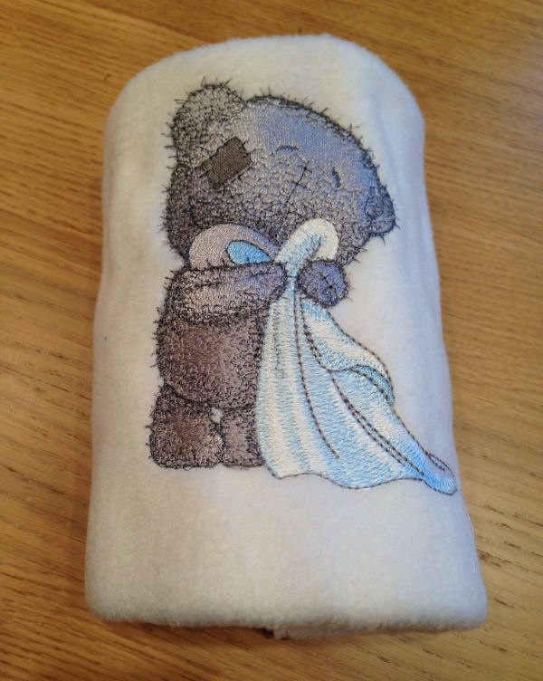 Teddy bear in the bathroom embroidered on towel