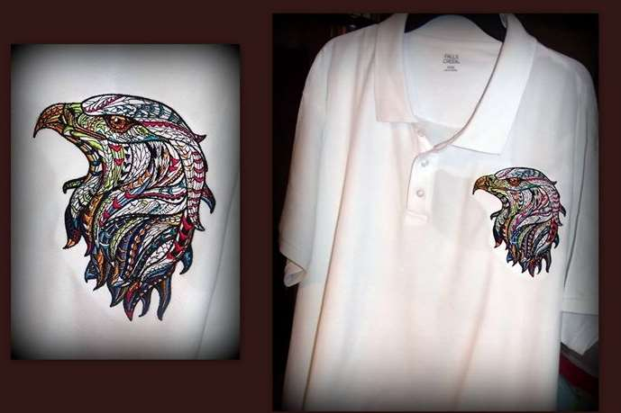 Polo shirt with mosaic eagle embroidery design