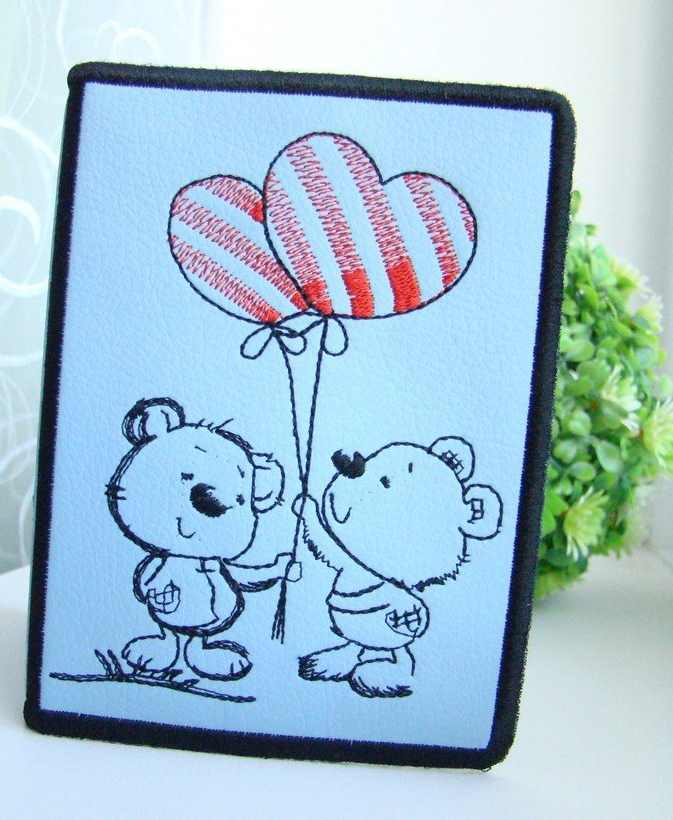 Cover for id with Teddy Bear and balloons embroidery