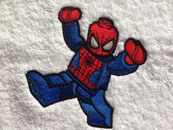 LEGO Spiderman design on embroidered towel