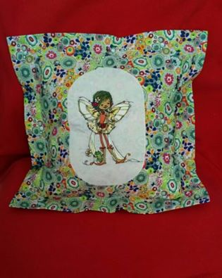 Young fairy with frog embroidery design on pillowcase