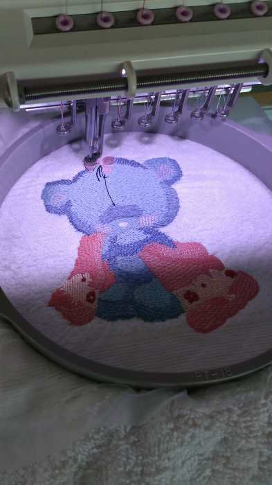teddy bear after shower embroidery in hoop