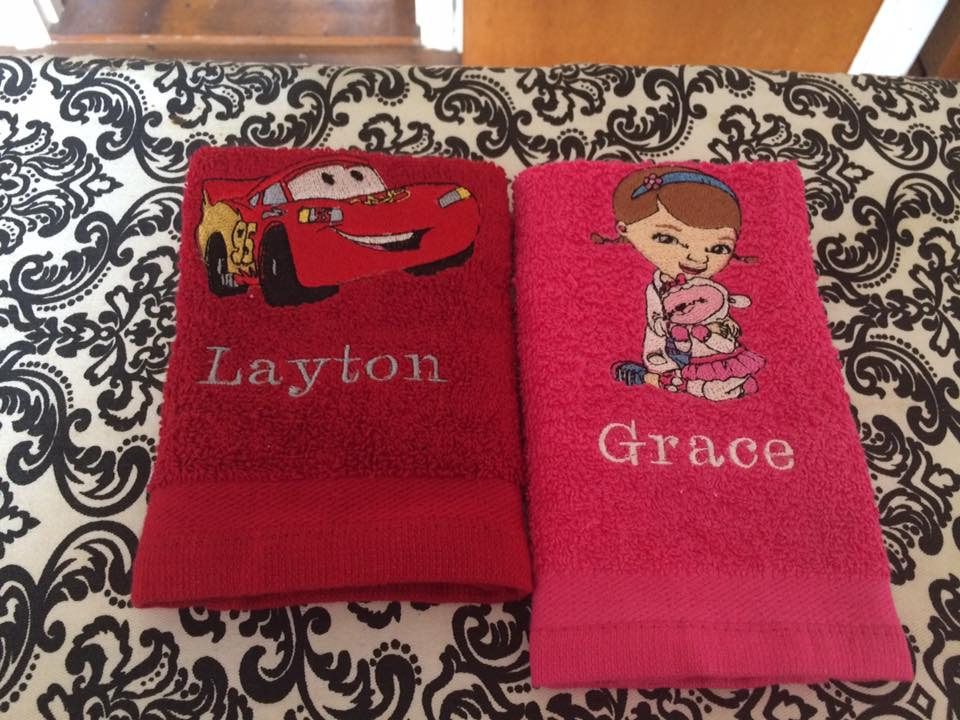 towels with cartoon heroes embroidery designs