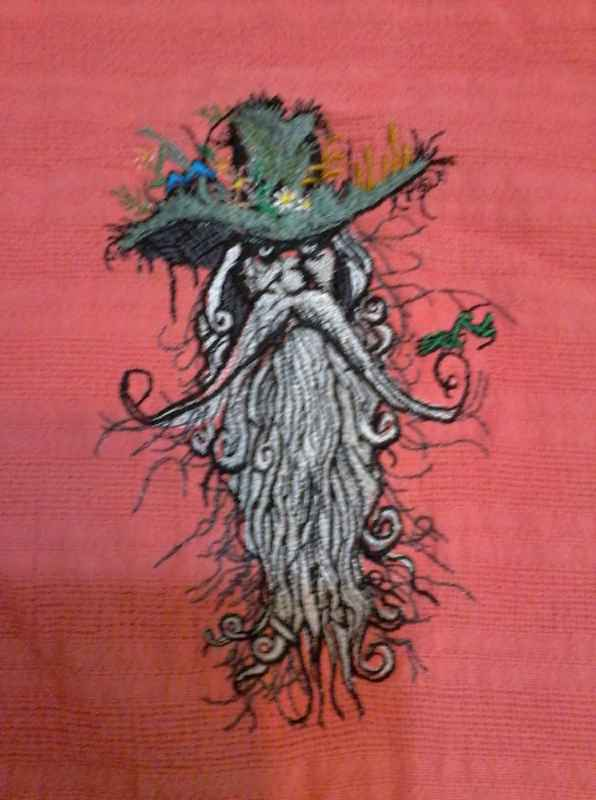 Old mystic man embroidered design