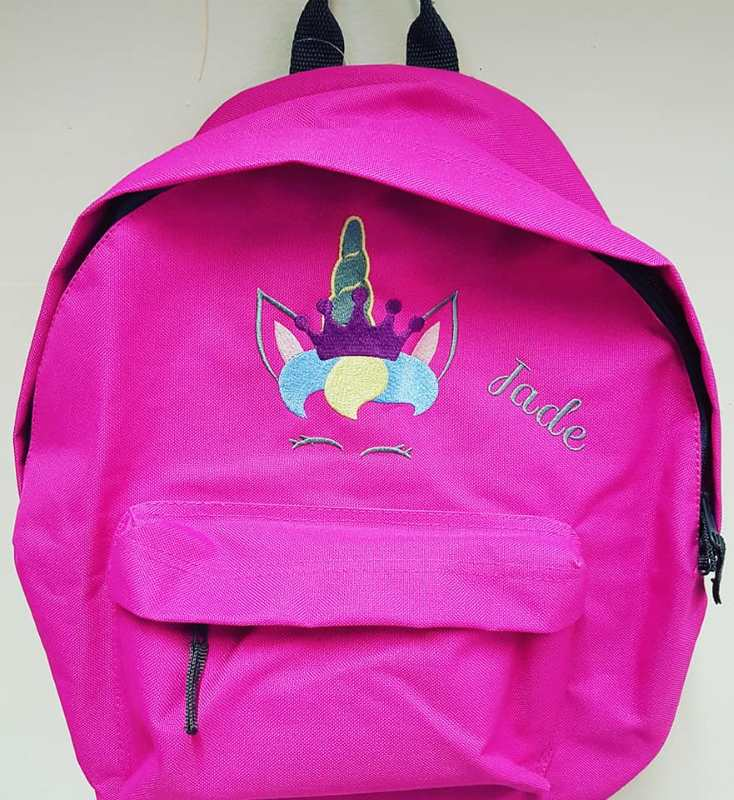 Embroidered backpack with Royal Unicorn design