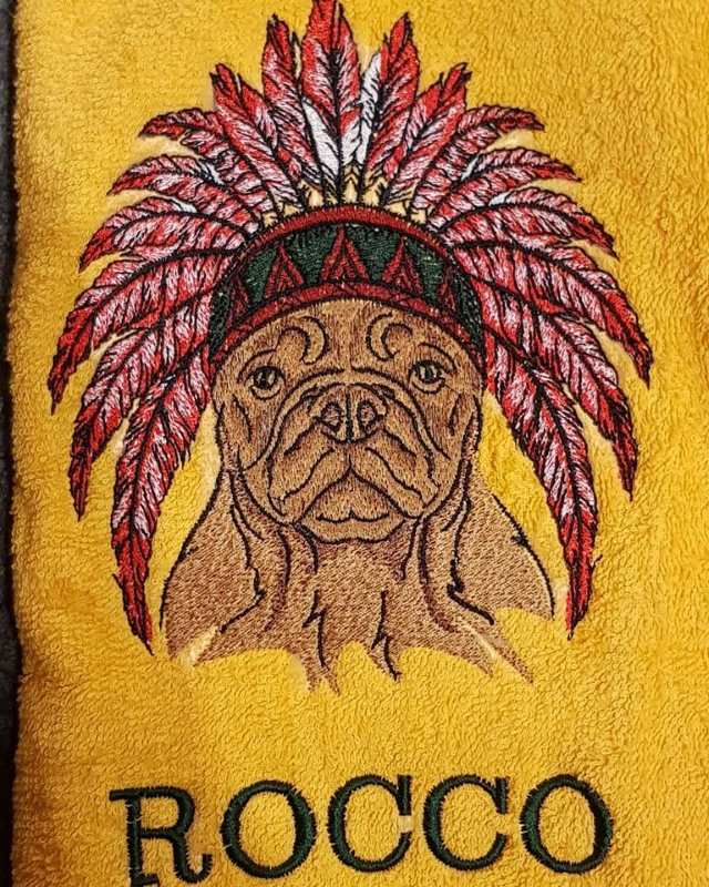 Embroidered bulldog with warbonnet design