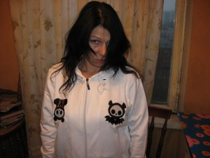 Skelanimals bat and panda embroidered on sport jacket