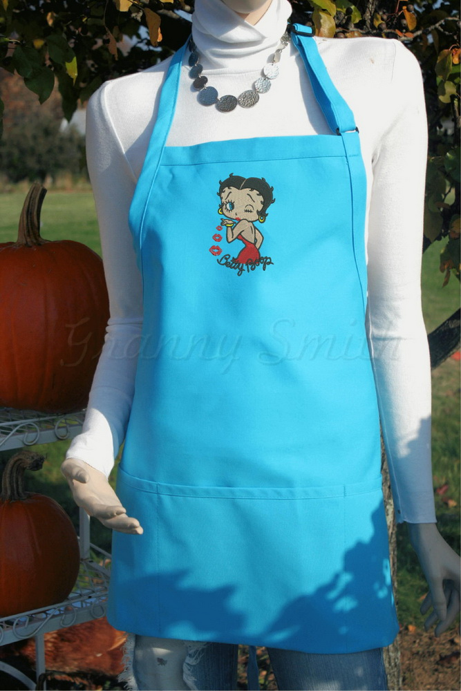 Betty Boop design embroidered on apron