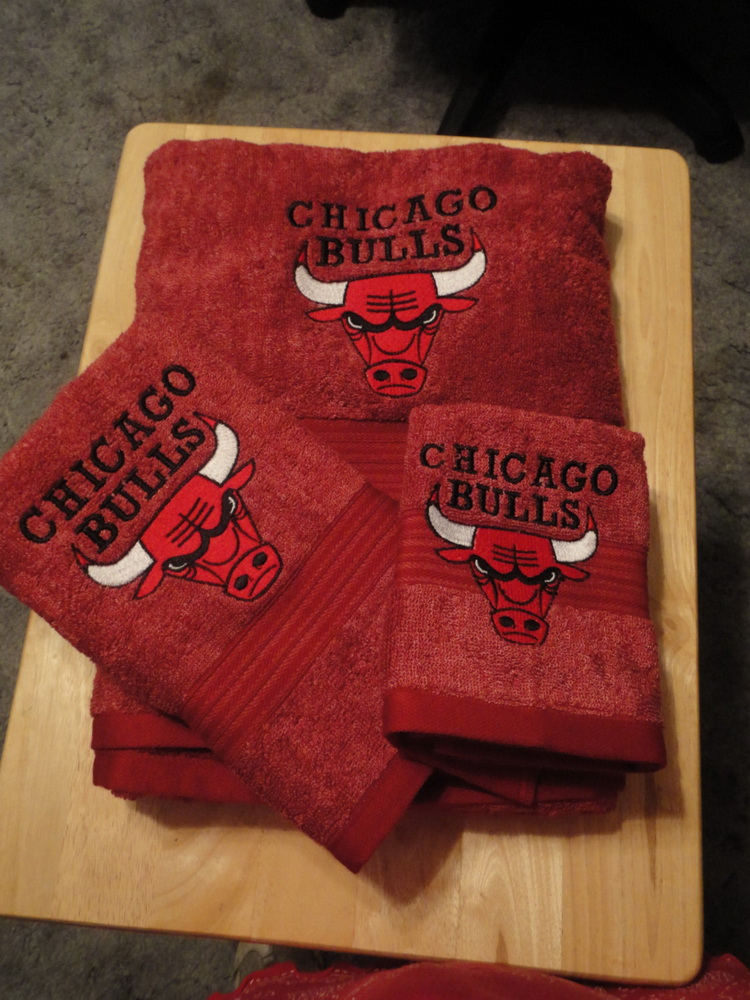 Chicago Bulls logo design on towel embroidered