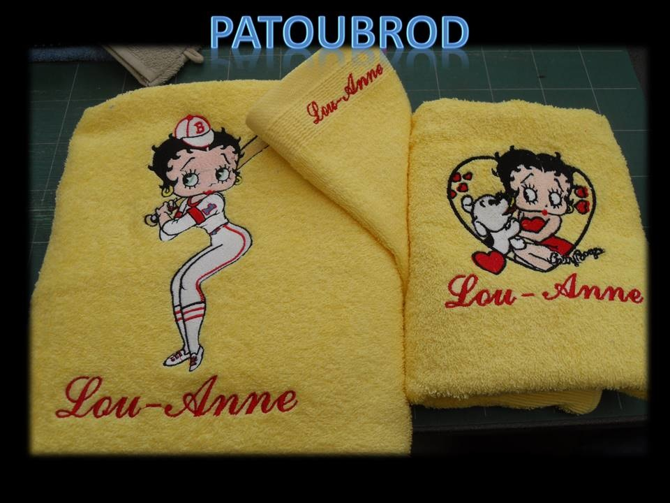 Betty Boop designs on towels embroidered