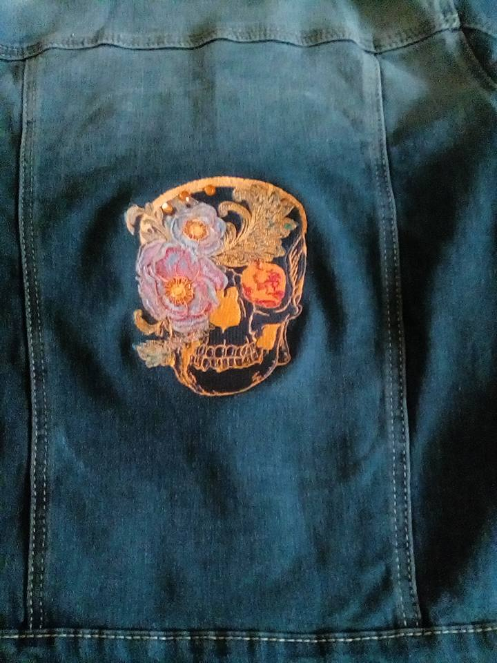 Denim jacket with Skull embroidery