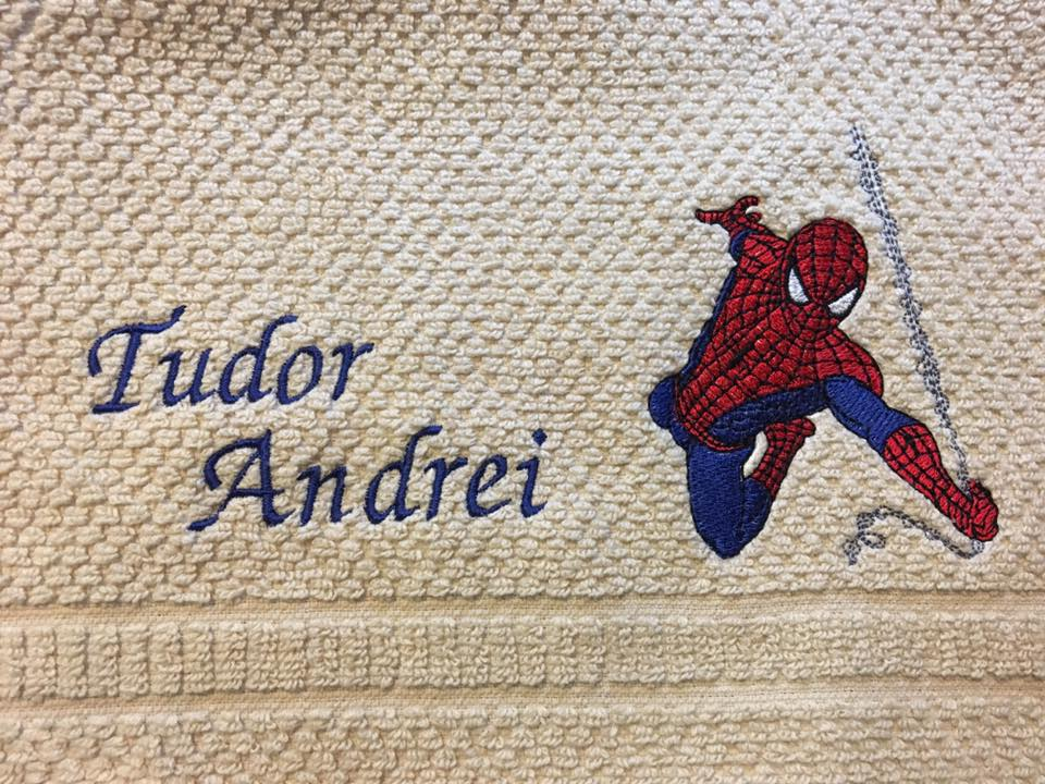 Towel with Spiderman embroidery design