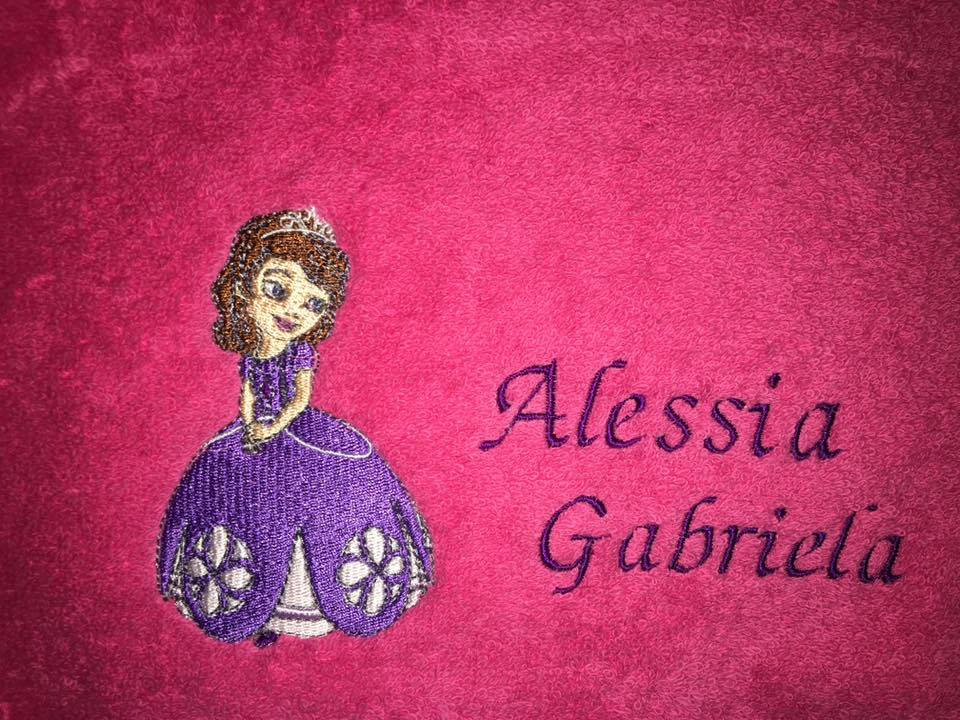Towel with Sofia the first embroidery design