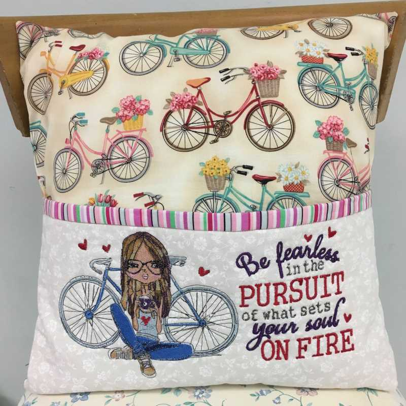 Cushion pillow with Young girl and bicycle embroidery design