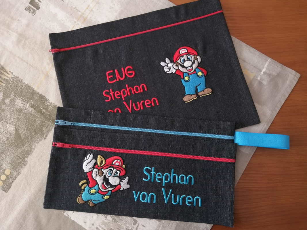 Embroidered beauty bags with Super Mario designs