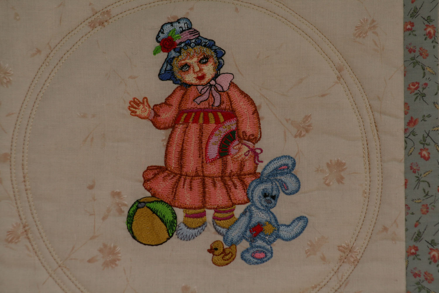 Doll with bunny toys embroidery design