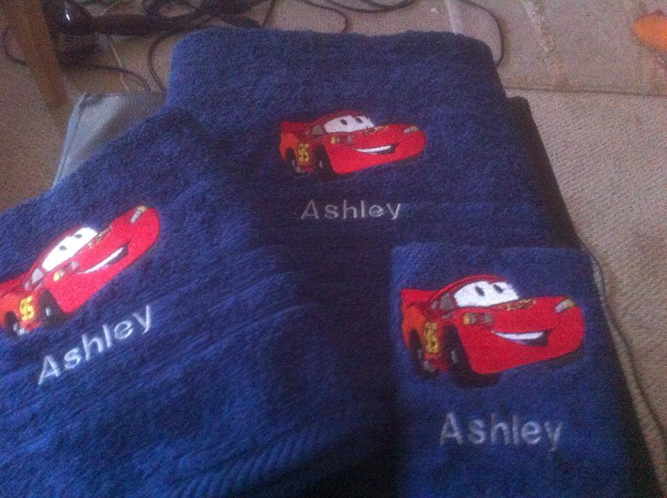 Embroidered Lightning McQueen small size design on towel