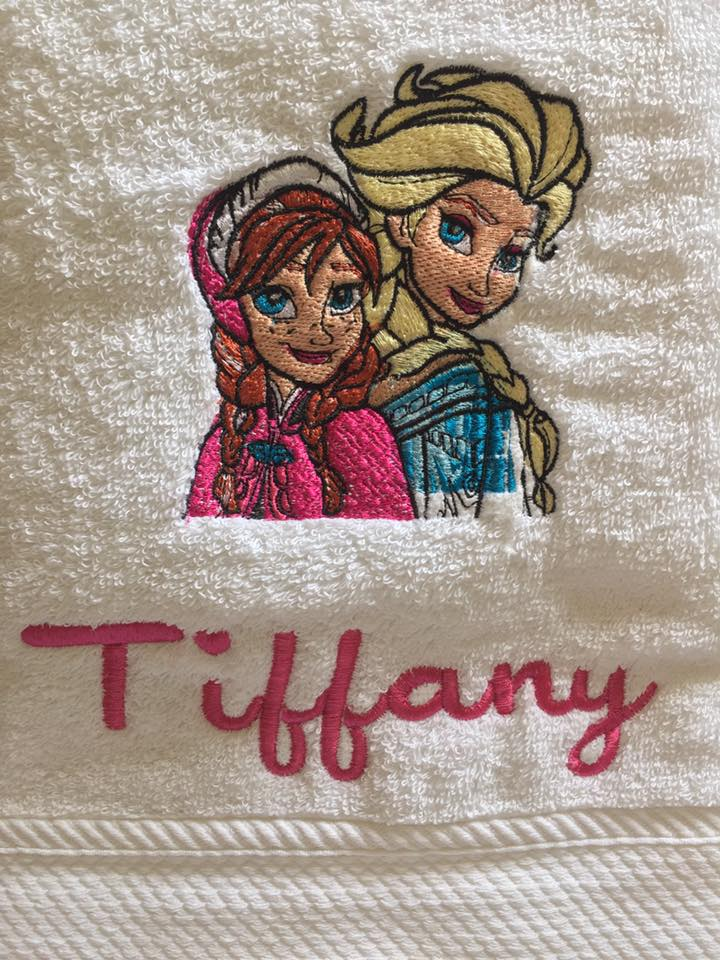 Frozen sisters embroidered on white bath towel