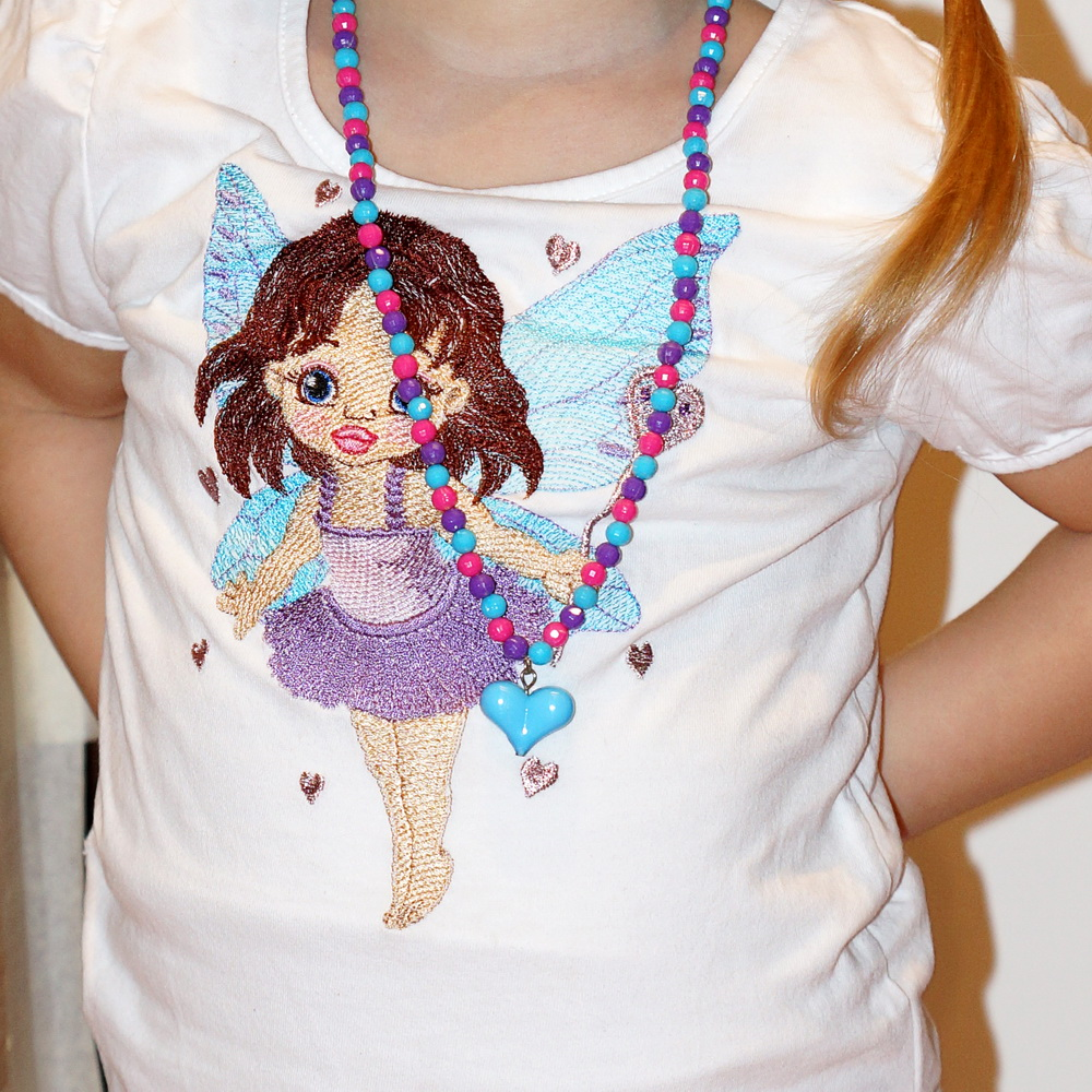 Baby love fairy embroidery design on t-shirt