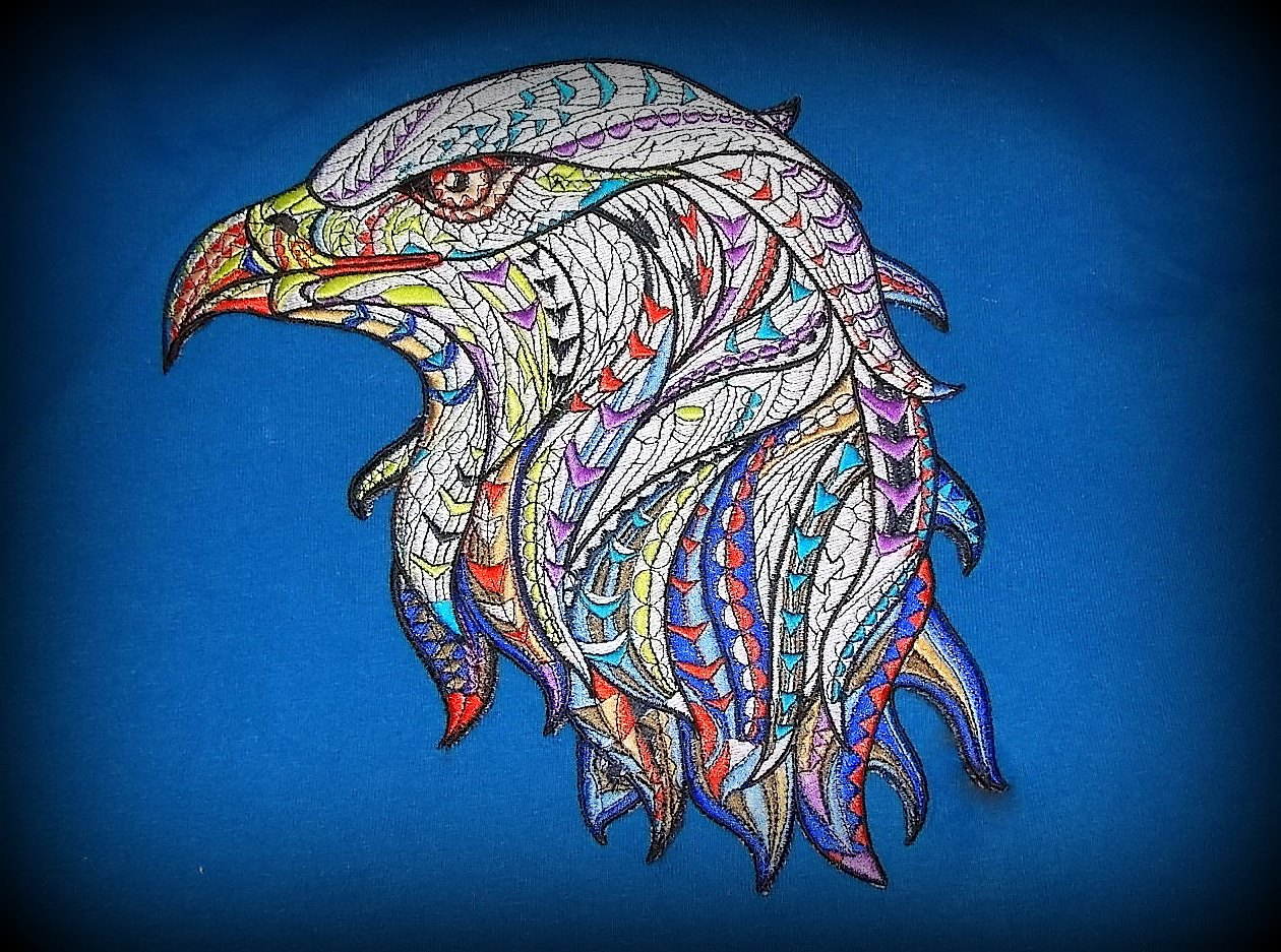 Mosaic eagle design embroidered on t-shirt