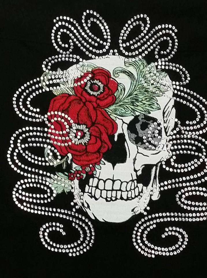 Skull with peony flowers embroidery design