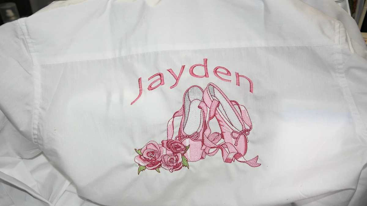 Jacket with ballet shoes embroidery design