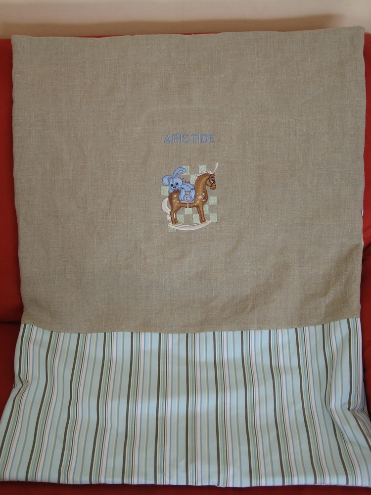 Towel with Bunny riding embroidery design