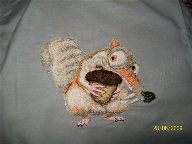 Embroidered Scrat design on t-shirt