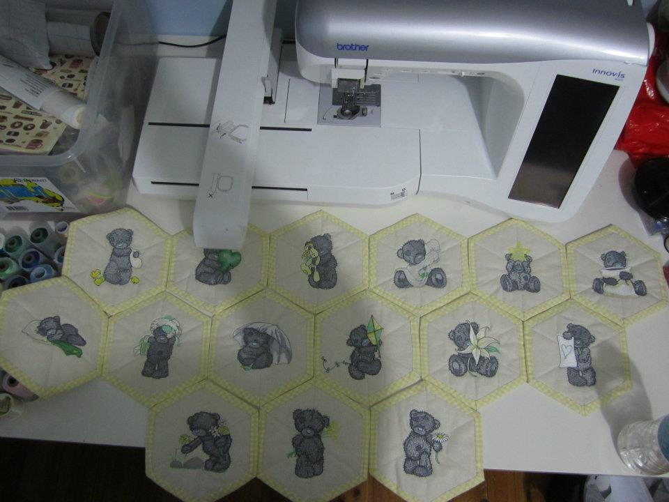 Baby soft quilt embroidered with tatty teddy designs