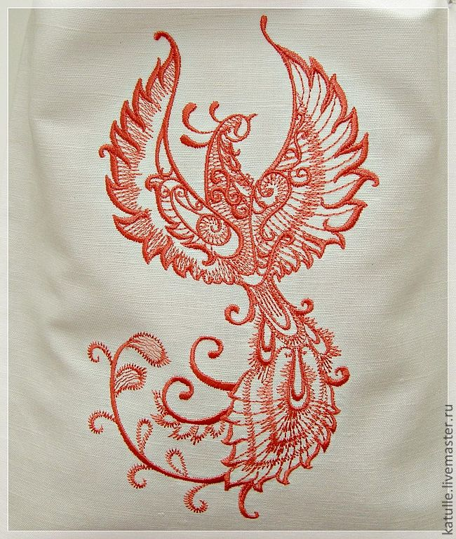 Embroidered Firebird on white bag