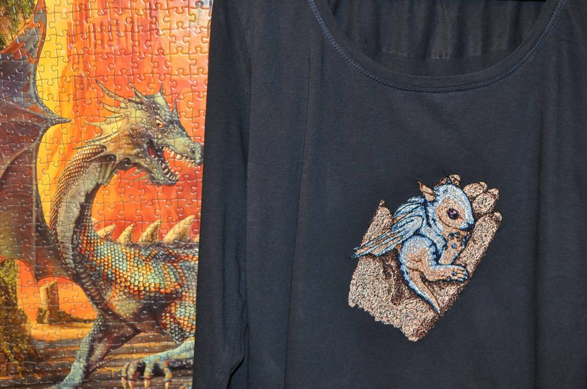 Dragon in my hand design on embroidered shirt
