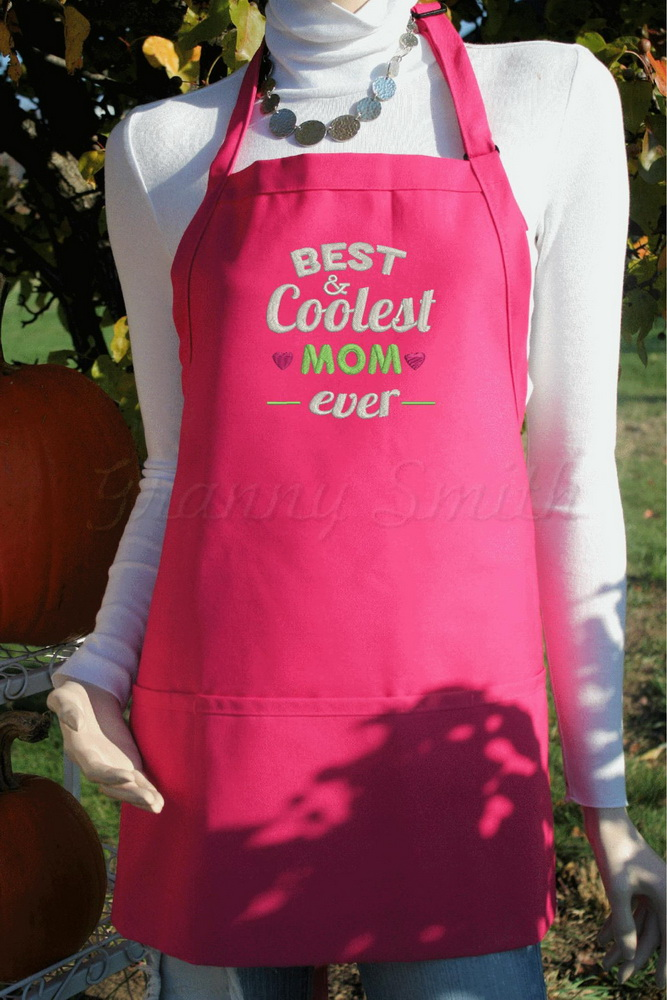 Embroidered Best coolest mom ever design on apron