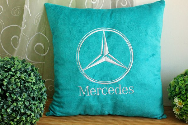 Mercedes-Benz Logo design on pillowcase embroidered
