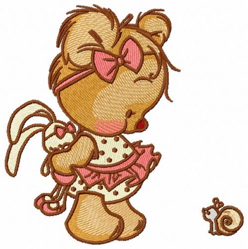 Shy Teddy Bear 4 Embroidery Design