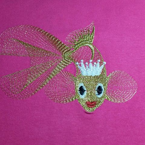 Gold fish design embroidered