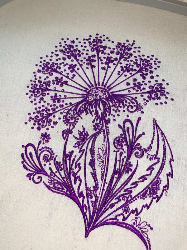 Dandelion violet embroidered design