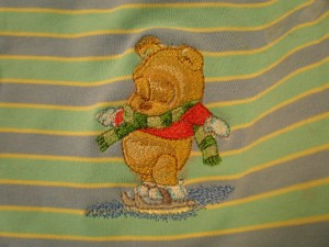 Winnie skating embroidered