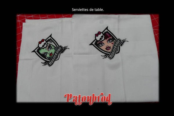 Embroidered Monster High designs on tablecloth