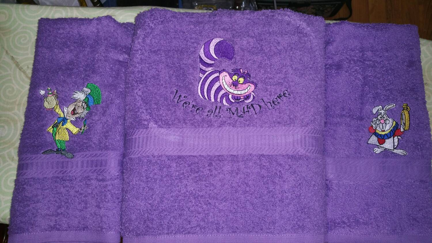Cat, Rabbit and Mad Hatter embroidered on bath towels