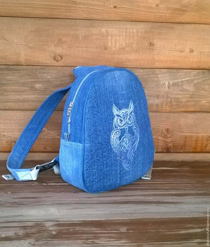 Denim women backpack with embroidery