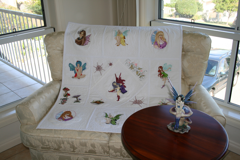 Embroidered Fairies on blanket