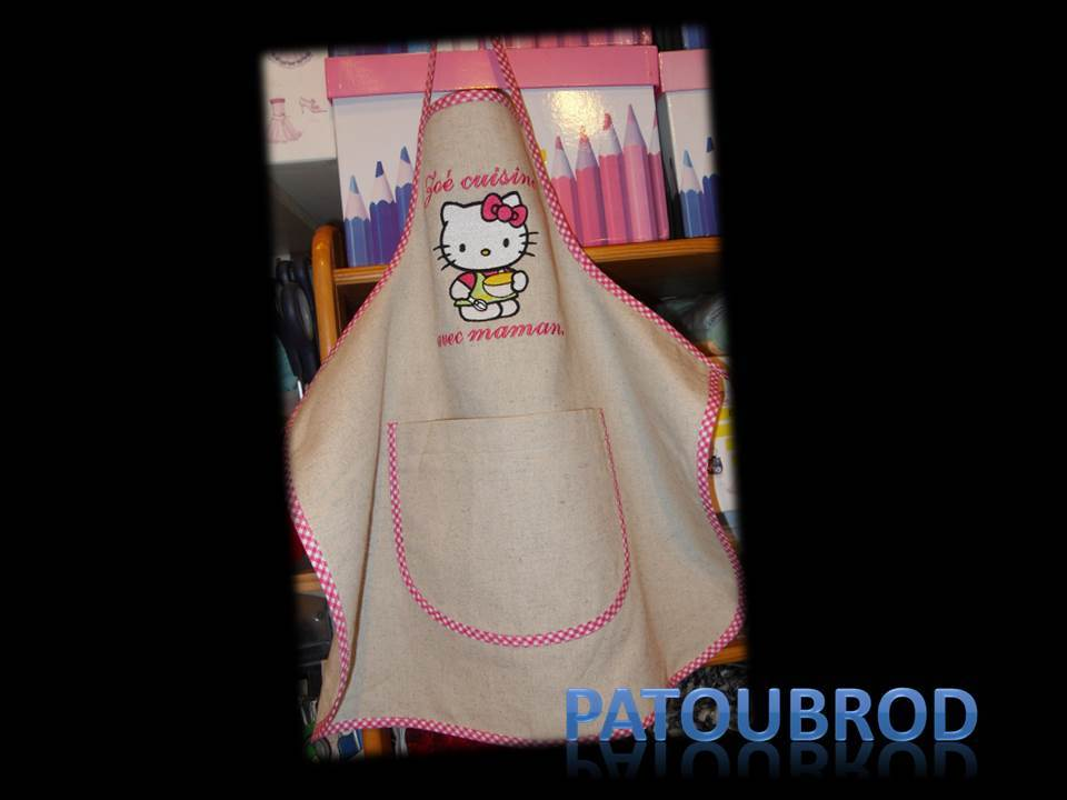 Hello Kitty Master Cook design on apron embroidered