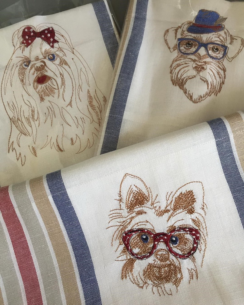 Funny terrier design on embroidered towel