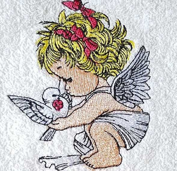 Embroidered Angel with bird design