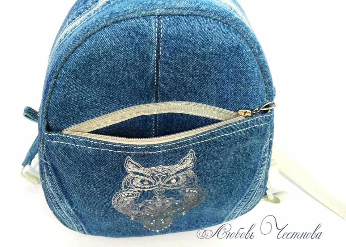 Designers bag with blend bird embroidery design
