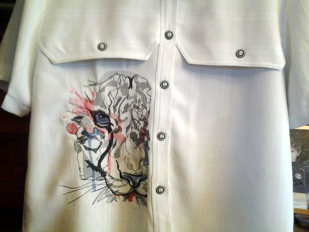 Cotton mens shirt with tiger water color art embroidery design