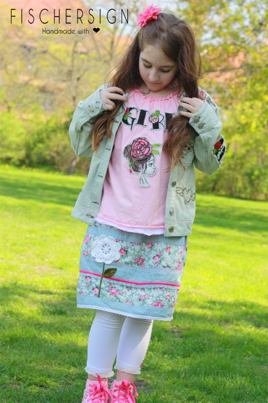 Shirt with peony girl embroidery design