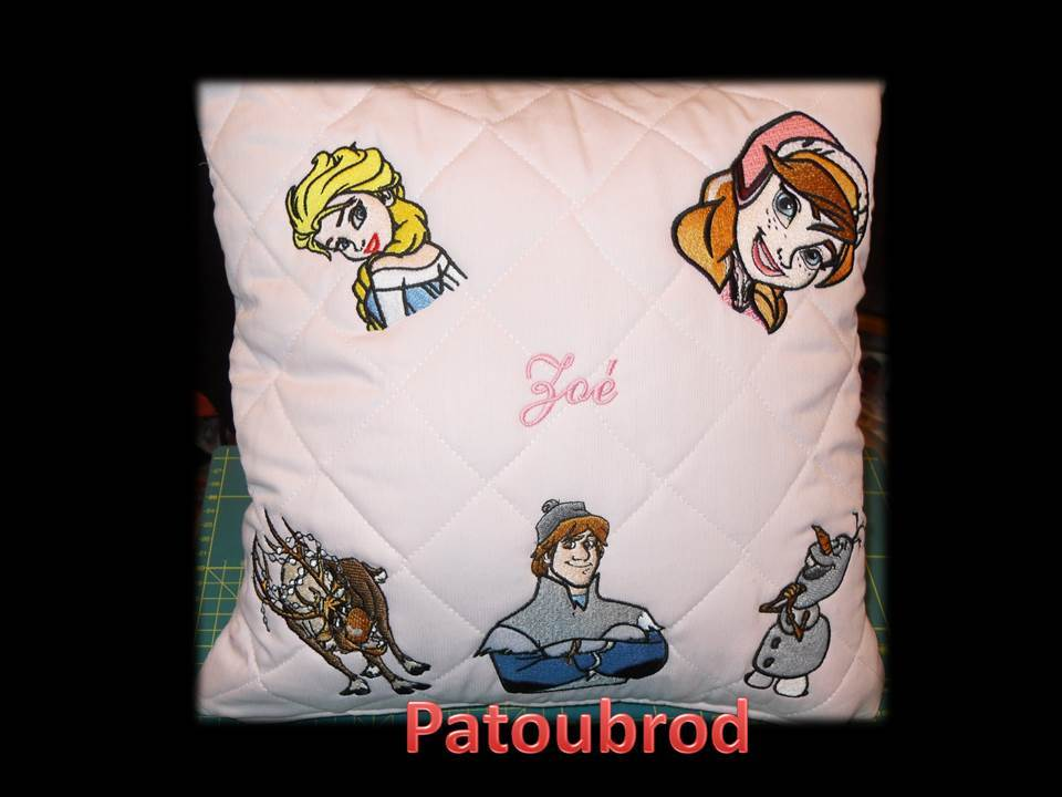 Frozen designs  on pillowcase embroidered